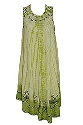 Indiatrendzs Women Dresses Tie-Dye Green Rayon Casual Sleeveless Dress Chest : 48