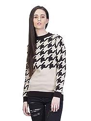 Kalt Women's Cotton Sweater(W130 XS_Beige::Brown_X-Small)