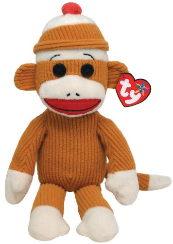 Ty Beanie Buddies Socks Monkey (Tan Corduroy) - 1