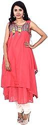 Touch Patiala Women's Cotton Regular Fit Kurta (Red, Large)