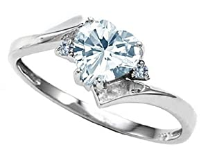 Tommaso Design Heart-Shape 6mm Genuine Aquamarine and Two Diamonds bypass Ring 10k Size 5