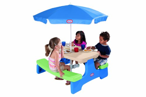 An Image of Little Tikes Easy Store Picnic Table with Umbrella