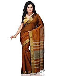 Utsav Fashion Women's Brown And Black Pure Chanderi Silk And Cotton Saree With Blouse