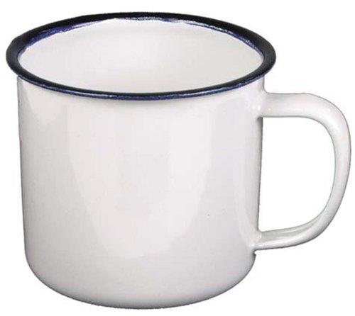Email-Tasse, weiß-blau, 0,3 Liter, Durchmesser 8 cm