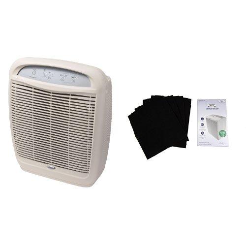 Whirlpool Whispure Air Purifier, HEPA Air Cleaner, AP51030K and Whirlpool 8171434K Large Air Purifier Carbon Pre-Filters, 4-Pack Bundle