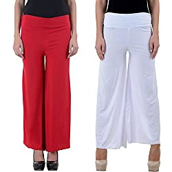 NumBrave Red and White Women's Palazzo (Combo)