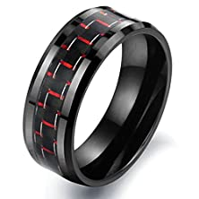 buy Men'S Fashion Red-And-Black Carbon Fibre Tungsten Rings,Wedding Bands For Men,Size 7 To 11