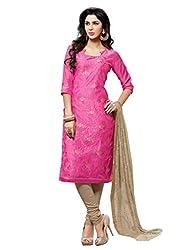 Varanga Pink Embroidered Dress Material with Matching Dupatta KF6MGC6001