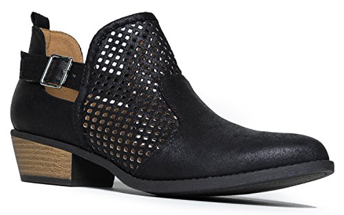 Cute Western Distressed Cowboy Perforated Laser Cut Out Bootie - Women's Pointed Toe Slip on Ankle Boot by J. Adams (Cowboy Boot Repair Kit compare prices)