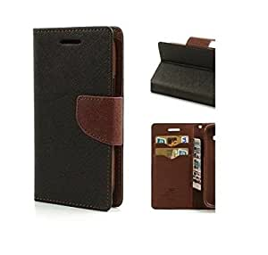 Rainbow Mercury Goospery FANCY Diary Card Wallet CASE Flip Cover for Micromax Canvas Play Q355-Black&Brown