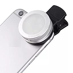 Cyxus [Adjustable 3 Stages Brightness] Selfie Fill LED Light (Clip to Phone) Night Portable Mini Spot Flash Round Spotlight for Any Cell Tablet (Apple iPhone 6s/6 Plus) (Silver)