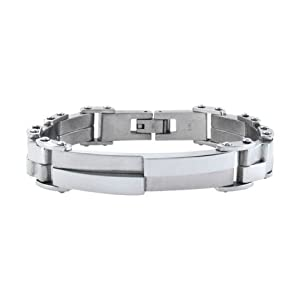 Inox Jewelry Modern Silver Steel with Asymmetrical Design Bracelet For Men available at Amazon for Rs.3055