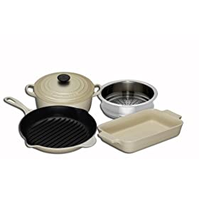 Le Creuset Cast Iron, Steamer and Stoneware Gift Set, 4 Piece, Almond