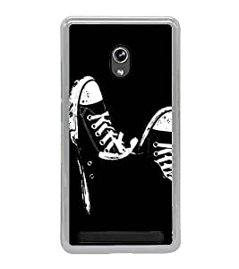 Black and White Shoes 2D Hard Polycarbonate Designer Back Case Cover for Asus Zenfone 6 A600CG