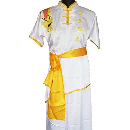 [Hot Sale Chinese Traditional Martial Arts Uniform Short Sleeves Kung Fu Performance Clothing Wu Shu Suit (White,] (Performance Art Costumes)