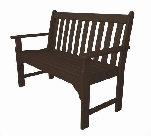 Recycled Plastic Vineyard 48″ Bench by Polywood Frame Color: Mahogany