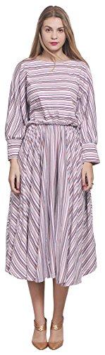 [Marycrafts Womens Striped Loose Fit Vintage 80s Midi Tea Dress Plus 8 Striped 20] (1980s Dress)