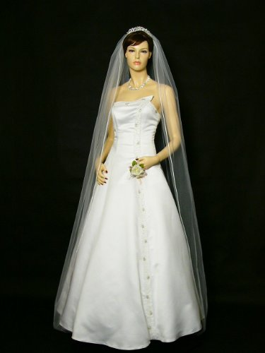 1T 1 Tier Pencil Edge Bridal Wedding Veil - Ivory Cathedral Length 108""