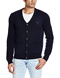 Gant Men's Cotton Sweater (8907036683318_GMWEF0010A_X-Large_Navy Blue)
