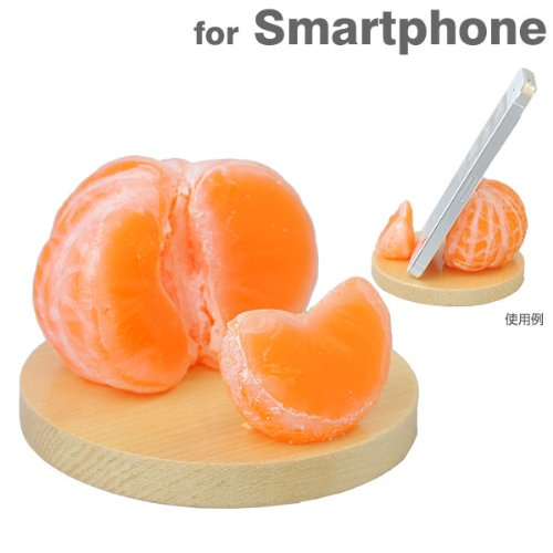 各種 スマートフォン 対応 食品サンプル スマホ スタンド (みかん)