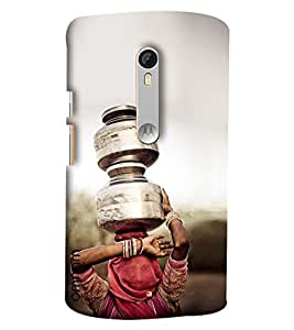 Omnam Indian Village Girl Carrying Water On Head Designer Back Cover Case For Motorola Moto X Play