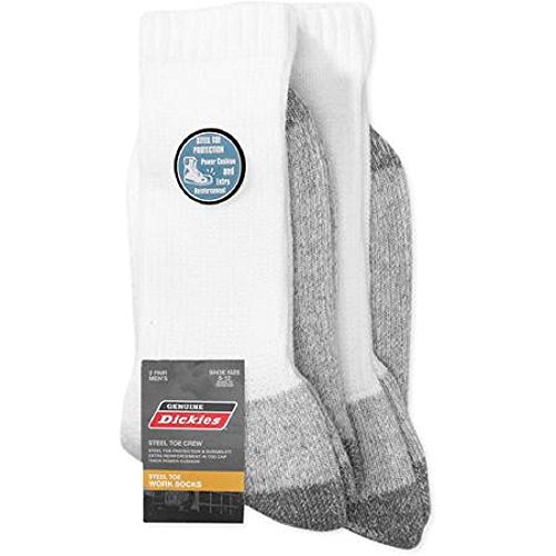Dickies Genuine 2 Pair Men's White Steel Toe Crew Work Socks - Big & Tall 12-15W (Big And Tall Work Boots compare prices)