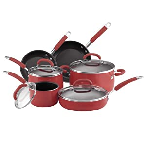 Rachael Ray Porcelain Enamel Nonstick 10-Piece Cookware Set, Red