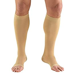 Truform 0845s, Compression Stockings, Below Knee, Open Toe, Short Length, 30-40 mmhg, Beige, Small