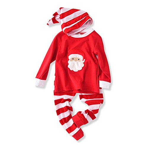 AJia-Baby-Unisex-Xmas-Pajamas-Sets-TshirtPantHat-Sleep-Suit-90-2T-Red