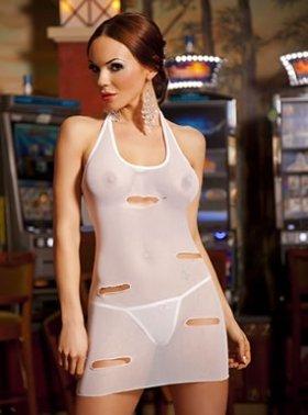 Bassaya White Camila Ripped Look See Through Mini Dress