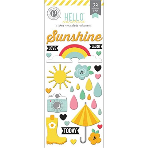 Pink Paislee Hello Sunshine Puffy Stickers - 1