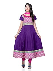 Diva Fusion Womens Cotton Anarkali Dress Material (Dfa113 _Purple _Free Size)