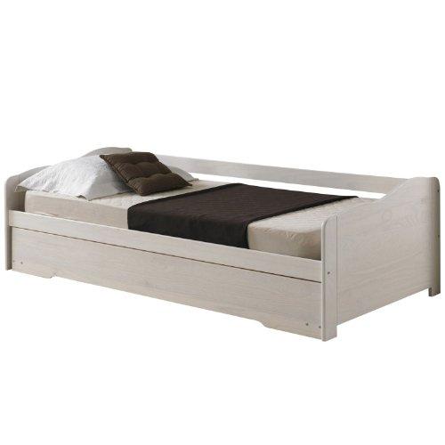 Cadres de lit lit gigogne avec tiroir lit lilli pin lasur blanc - Cadre de lit avec tiroir ...