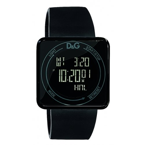 Dolce  &  Gabbana Unisex Watch Digital Quartz DW0734 with Black Silicon Strap Black Dial