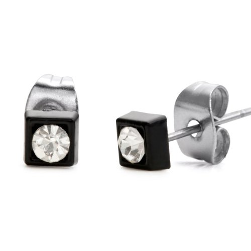 Classic Stainless Steel Cubic Zirconia Stud Earrings for Men (4mm, Silver, Black)