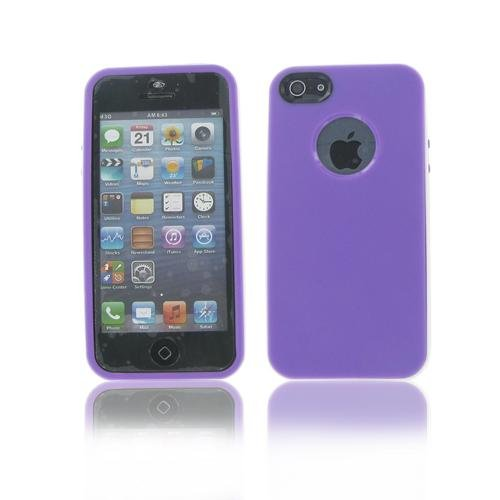 Apple Iphone 5S/ 5 White/Purple Argyle Candy Belly Case