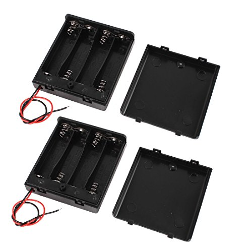 uxcell 2 Pcs 4 x AA 6V Battery Holder Case Wired ON/OFF Switch w Cover