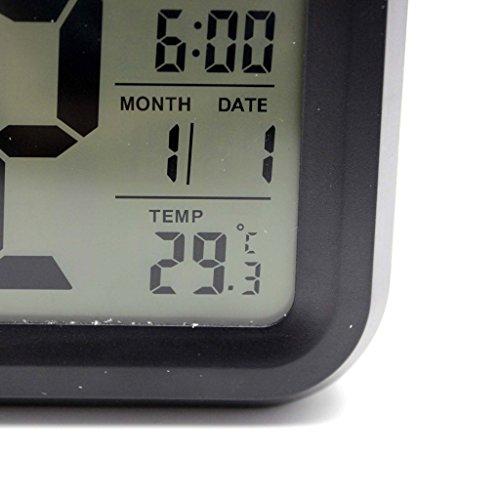 Mini Réveil Noir Durable Digital LCD Date Heure de Lumière LED