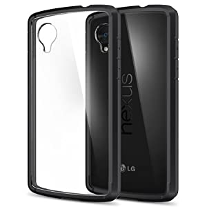 Nexus 5 Case, Spigen® [AIR CUSHION] [+Screen Shield] Google Nexus 5 Case ULTRA HYBRID Series [Black] [1 Premium Japanese Screen Protector Included + 2 Graphics] Scratch Resistant Bumper Case with Clear Back Panel for Nexus 5 - ECO-Friendly Package - Black (SGP10609)