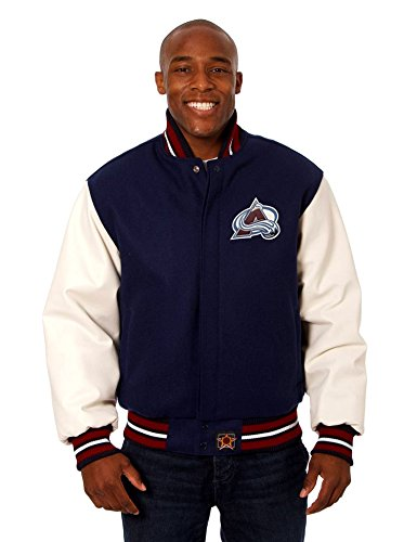 Colorado Avalanche Men's Wool & Leather Varsity Style Jacket with Hand Crafted Leather Team Logos (X-Large)