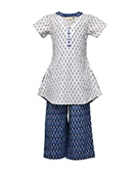 Budding Bees Girls Blue & White Printed Top With Palazzo Set