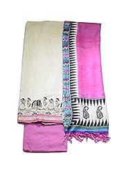 Aaruhi Fashions Womens Off white Chanderi silk dress material with warli art emboridery ,Pink salwar and printed duptta