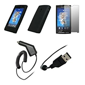 Sony Ericsson Xperia X10 - Premium Black Soft Silicone Gel Skin Cover Case + Crystal Clear Screen Protector + Rapid Car Charger + USB Data Sync Charge Cable for Sony Ericsson Xperia X10
