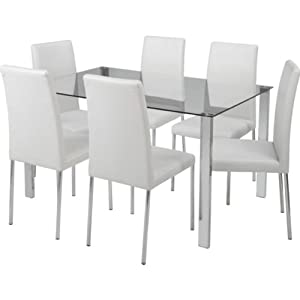 Essentialz Hygena Naples Clear Dining Table Ase White