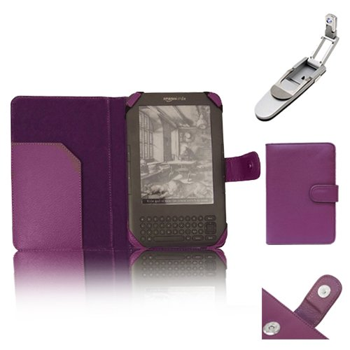 """Xtra-Funky Exclusive Pu Leather Book Wallet Folio Style Case For Amazon Kindle 3 (Black 6"""" E-Ink Display Keyboard Model) With Clip On Robotic Folding Light - Purple"""