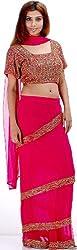 Exotic India Fuschia Bridal Four Piece Readymade Saree Suit - Fuschia