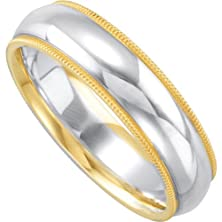buy 7Mm Sterling Silver With 14K Yellow Gold Milgrain Two Tone Dome Comfort Fit Band Size 10.5
