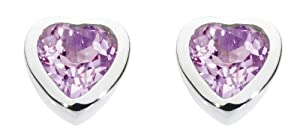 Dew Womens Sterling Silver and Amethyst Small Heart Stud Earrings 3035AM