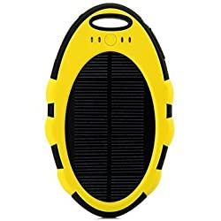 5000mAh Waterproof Solar Charger Power Bank For Mobile Phone-Yellow
