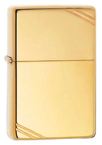 Zippo Vintage with Slashes High Polish Pocket Lighter, 5 1/2x3 1/2cm (Brass)